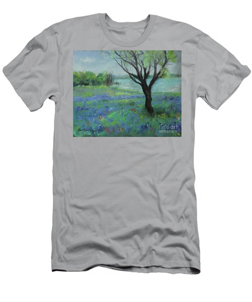Men's T-Shirt (Athletic Fit) featuring the painting Texas Bluebonnet Trail by Robin Maria Pedrero