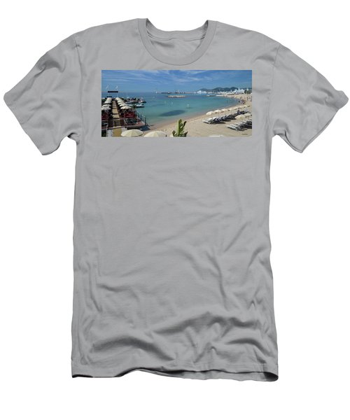 Men's T-Shirt (Slim Fit) featuring the photograph The Beach At Cannes by Allen Sheffield
