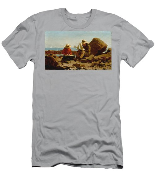 Men's T-Shirt (Slim Fit) featuring the painting The Boat Builders - 1873 by Winslow Homer