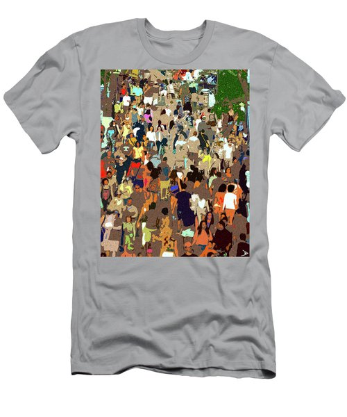 Men's T-Shirt (Slim Fit) featuring the painting The Crowd by David Lee Thompson