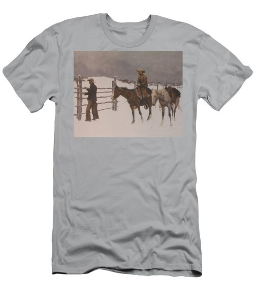 The Fall Of The Cowboy Men's T-Shirt (Slim Fit) by Frederic Remington