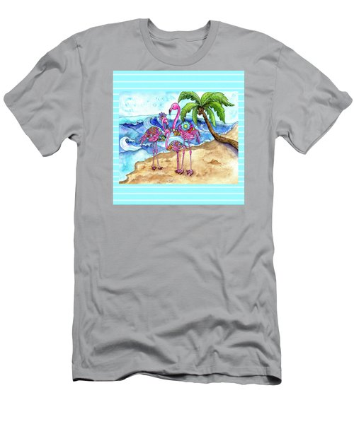 The Flamingo Family's Day At The Beach Men's T-Shirt (Athletic Fit)