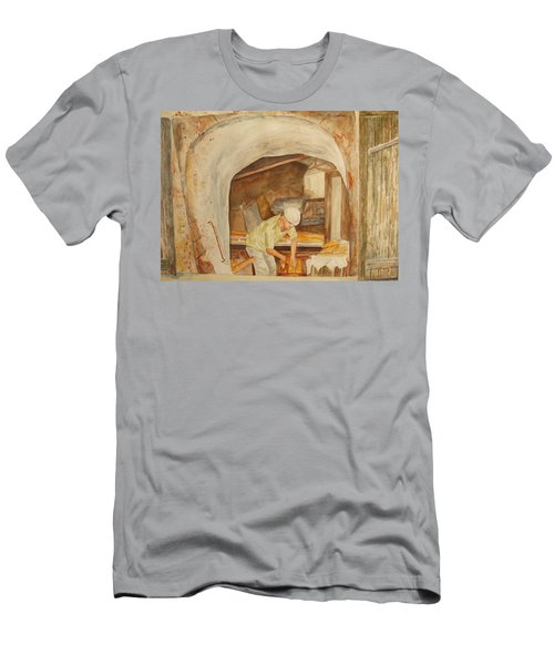 Men's T-Shirt (Slim Fit) featuring the painting The French Baker by Vicki  Housel