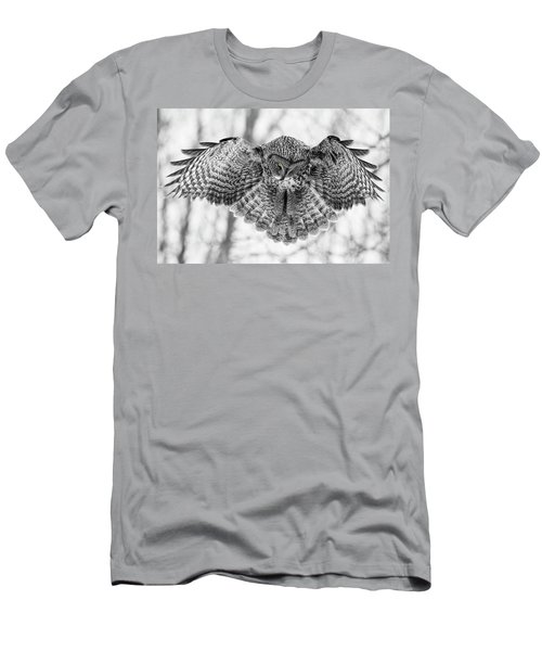 Men's T-Shirt (Slim Fit) featuring the photograph The Great Grey Owl In Black And White by Mircea Costina Photography