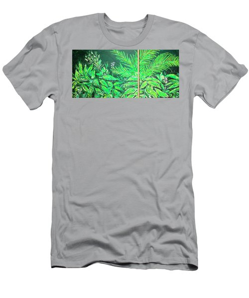Men's T-Shirt (Athletic Fit) featuring the painting The Green Flower Garden by Darren Cannell