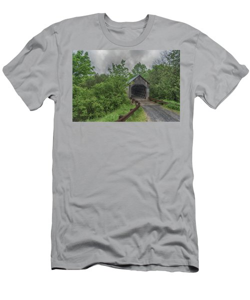 Men's T-Shirt (Athletic Fit) featuring the photograph The Halpin Covered Bridge by Guy Whiteley