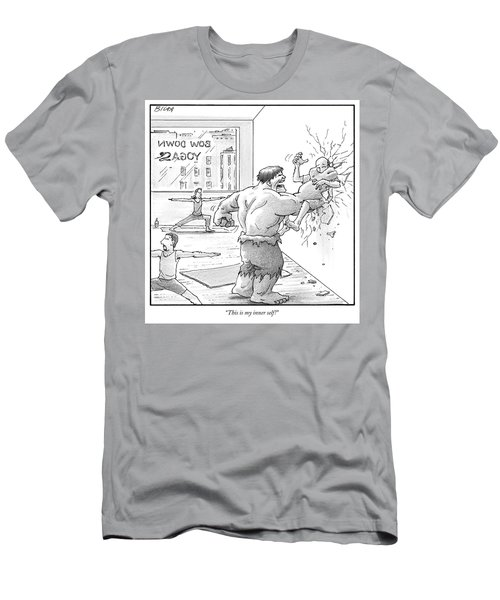 The Hulk Crushes A Man Against A Wall In A Yoga Men's T-Shirt (Athletic Fit)