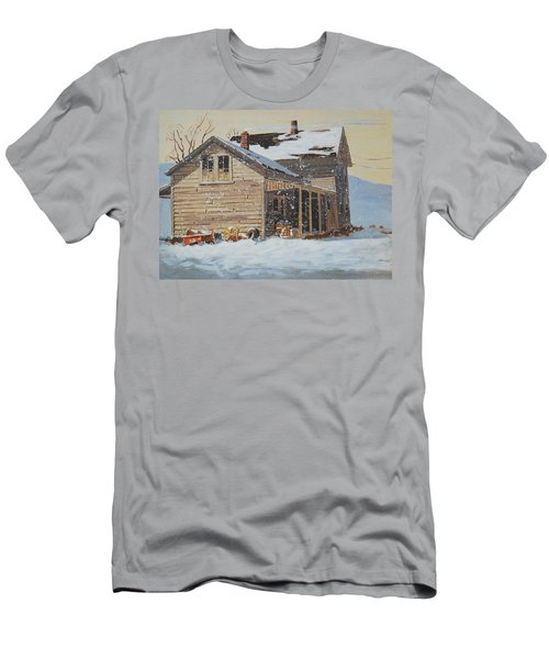Men's T-Shirt (Slim Fit) featuring the painting the Old Farm House by Len Stomski