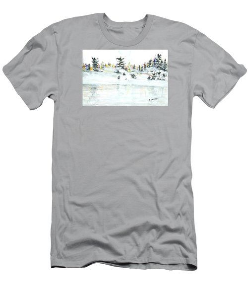 Men's T-Shirt (Athletic Fit) featuring the painting The Reflection Lake by Darren Cannell