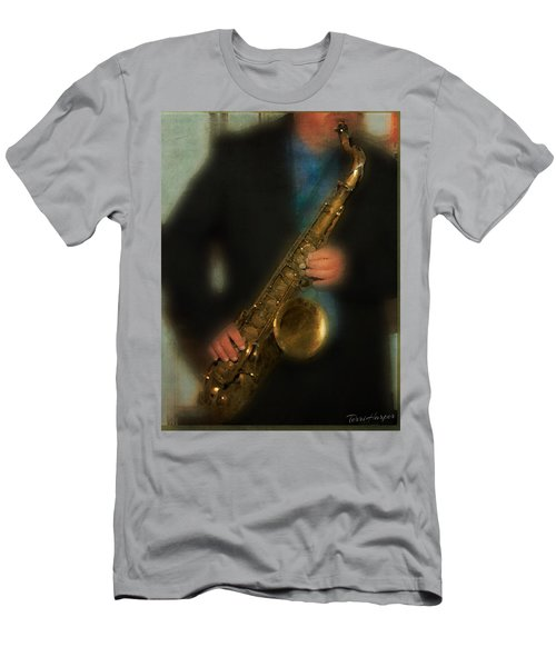 Men's T-Shirt (Slim Fit) featuring the photograph The Sax Player by Terri Harper