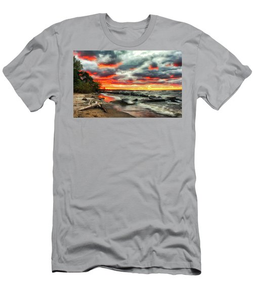 The Sky On Fire At Sunset On Lake Erie Men's T-Shirt (Athletic Fit)