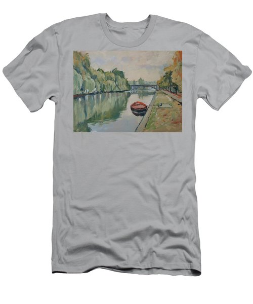 The Small Boat Along The Quai Of Halage Vise Men's T-Shirt (Athletic Fit)