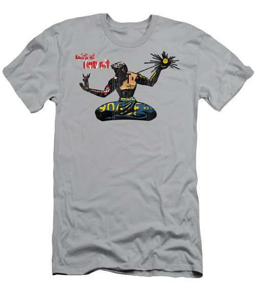 The Spirit Of Detroit Statue Recycled Michigan License Plate Art Homage Men's T-Shirt (Athletic Fit)