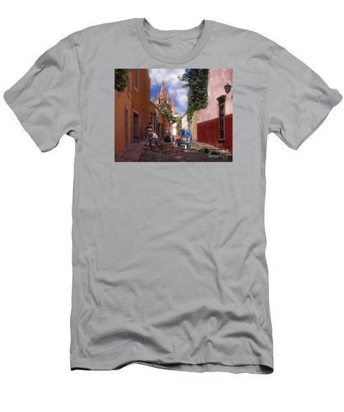 Men's T-Shirt (Slim Fit) featuring the photograph The Street Workers by John  Kolenberg
