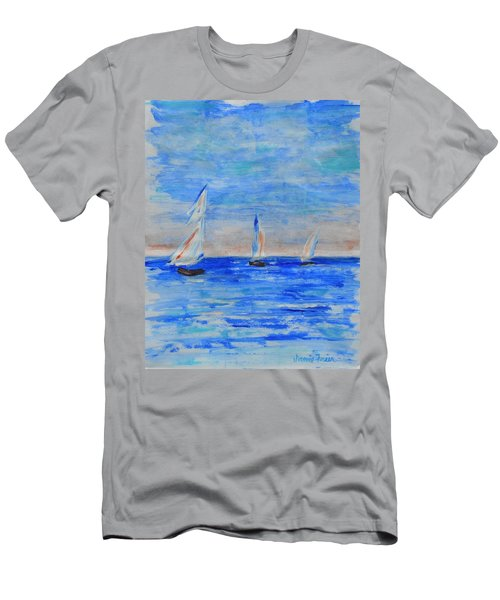 Three Boats Men's T-Shirt (Slim Fit) by Jamie Frier