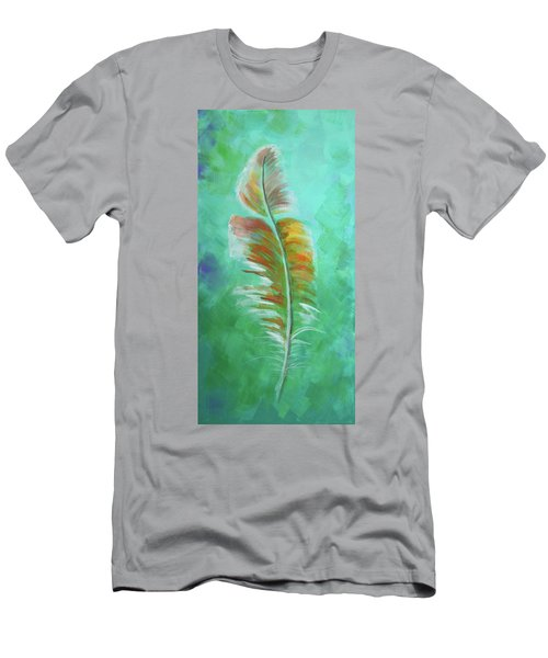 Men's T-Shirt (Slim Fit) featuring the painting Three Feathers Triptych-left Panel by Agata Lindquist