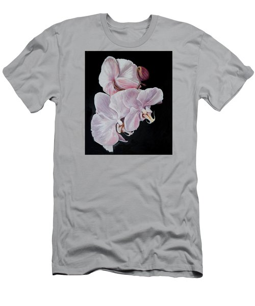 Men's T-Shirt (Slim Fit) featuring the painting Three Orchids by Sandra Nardone