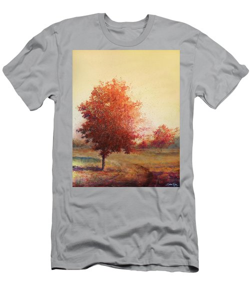Men's T-Shirt (Athletic Fit) featuring the painting Three Red Trees by Andrew King