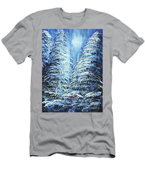 Men's T-Shirt (Slim Fit) featuring the painting Tim's Winter Forest by Holly Carmichael