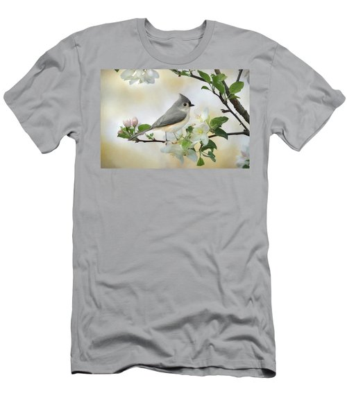 Men's T-Shirt (Slim Fit) featuring the mixed media Titmouse In Blossoms 1 by Lori Deiter