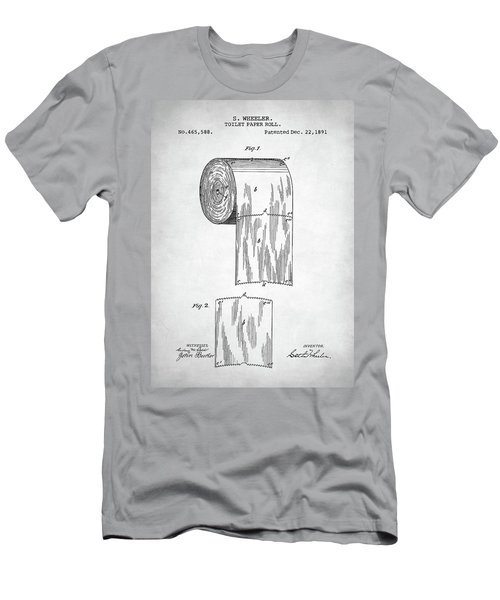 Men's T-Shirt (Slim Fit) featuring the digital art Toilet Paper Roll Patent by Taylan Apukovska