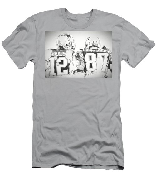 Men's T-Shirt (Slim Fit) featuring the drawing Tom Brady Rob Gronkowski Sketch by Dan Sproul