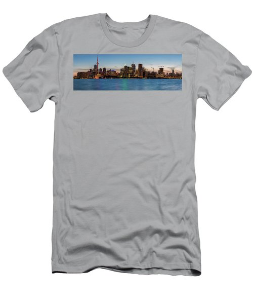 Men's T-Shirt (Athletic Fit) featuring the photograph Toronto Skyline At Dusk Panoramic by Adam Romanowicz