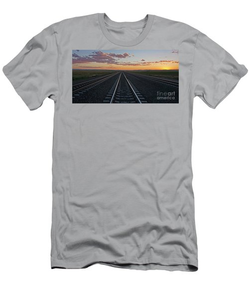 Tracks Into Sunset Men's T-Shirt (Athletic Fit)