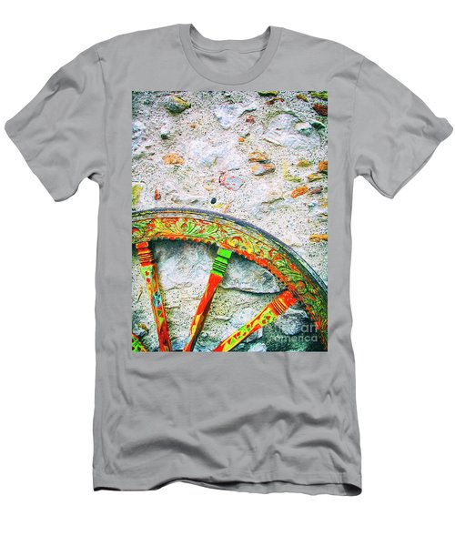 Men's T-Shirt (Athletic Fit) featuring the photograph Traditional Sicilian Cart Wheel Detail by Silvia Ganora