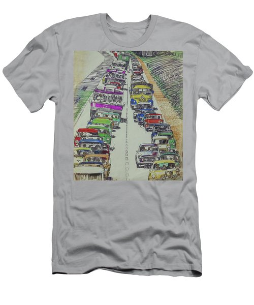 Men's T-Shirt (Slim Fit) featuring the drawing Traffic 1960s. by Mike Jeffries