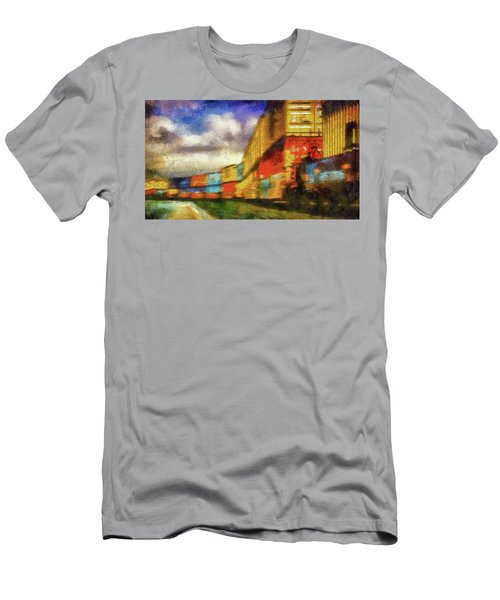 Train Freight Cars Men's T-Shirt (Slim Fit) by Joseph Hollingsworth