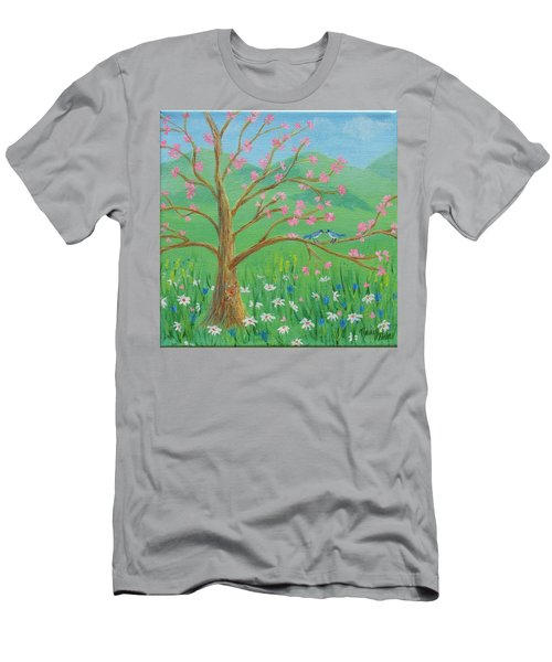 Men's T-Shirt (Athletic Fit) featuring the painting Tree For Two by Nancy Nale