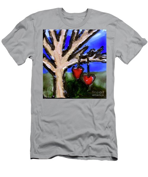 Men's T-Shirt (Slim Fit) featuring the painting Tree Hearts by Genevieve Esson