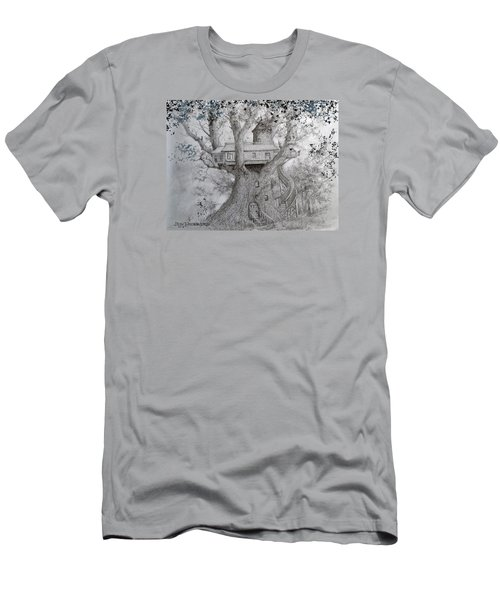 Men's T-Shirt (Slim Fit) featuring the drawing Tree House #2 by Jim Hubbard