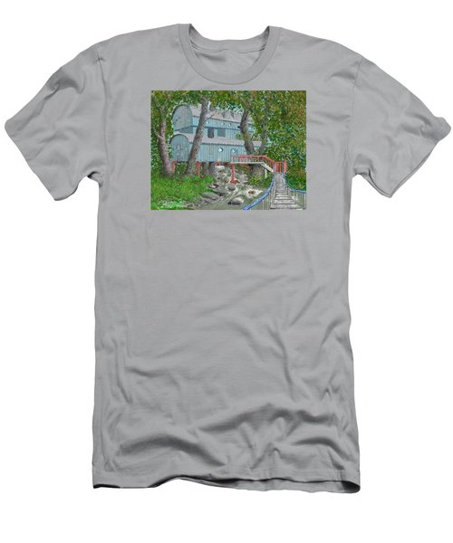 Men's T-Shirt (Slim Fit) featuring the drawing Tree House Digital Version by Jim Hubbard