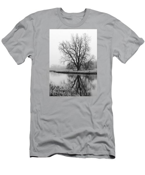 Tree Reflection In The Fox River On A Foggy Day Men's T-Shirt (Athletic Fit)