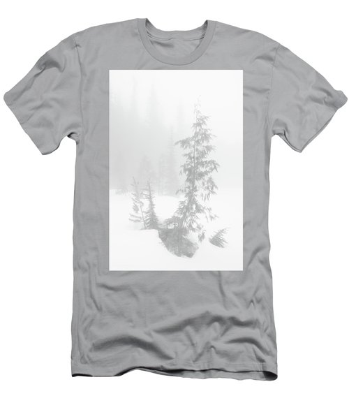 Men's T-Shirt (Athletic Fit) featuring the photograph Trees In Fog Monochrome by Tim Newton
