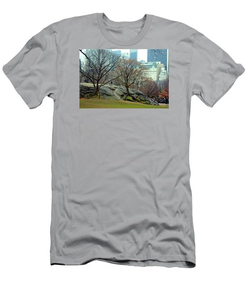Men's T-Shirt (Slim Fit) featuring the photograph Trees In Rock by Sandy Moulder