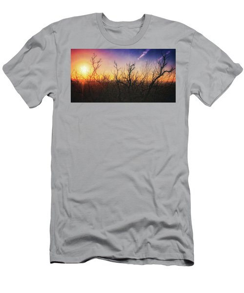 Men's T-Shirt (Slim Fit) featuring the photograph Treetop Silhouette - Sunset At Lapham Peak #1 by Jennifer Rondinelli Reilly - Fine Art Photography