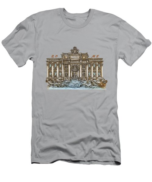 Men's T-Shirt (Slim Fit) featuring the painting  Trevi Fountain,rome  by Andrzej Szczerski
