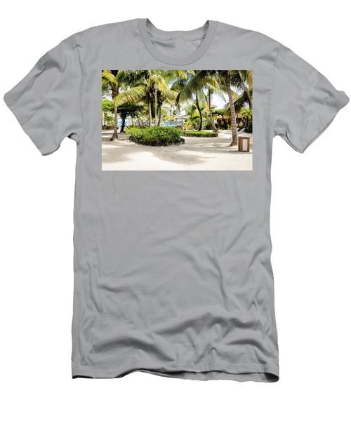 Men's T-Shirt (Slim Fit) featuring the photograph Tropical Courtyard by Lawrence Burry