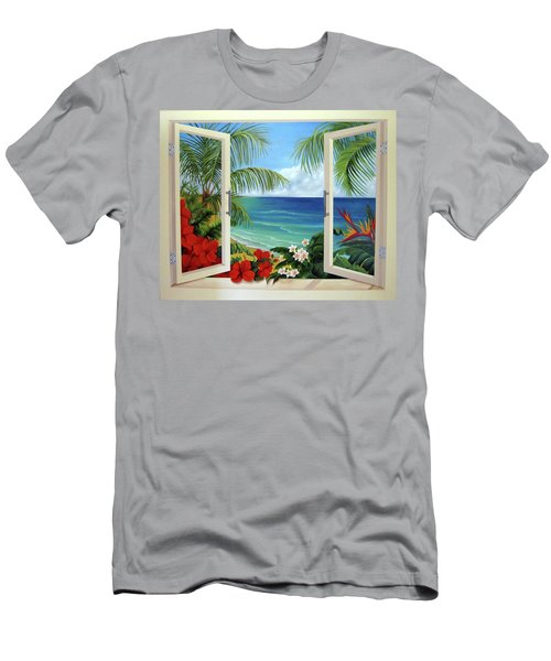 Tropical Window Men's T-Shirt (Slim Fit) by Katia Aho