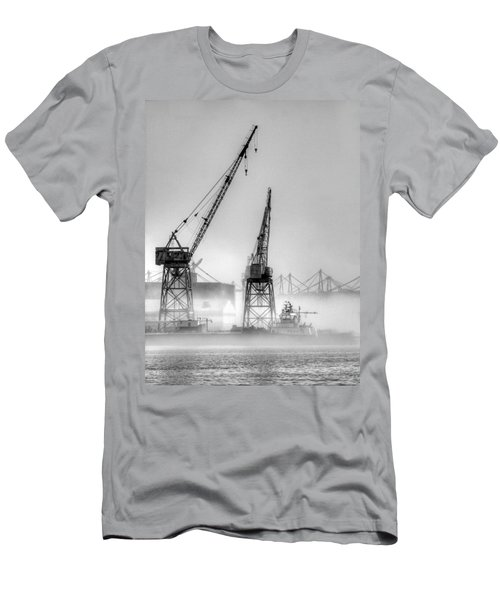 Tug With Cranes Men's T-Shirt (Athletic Fit)