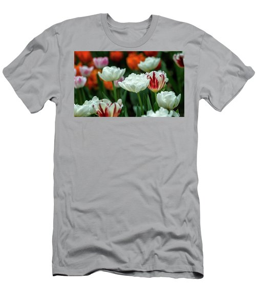Men's T-Shirt (Athletic Fit) featuring the photograph Tulip Flowers by Pradeep Raja Prints