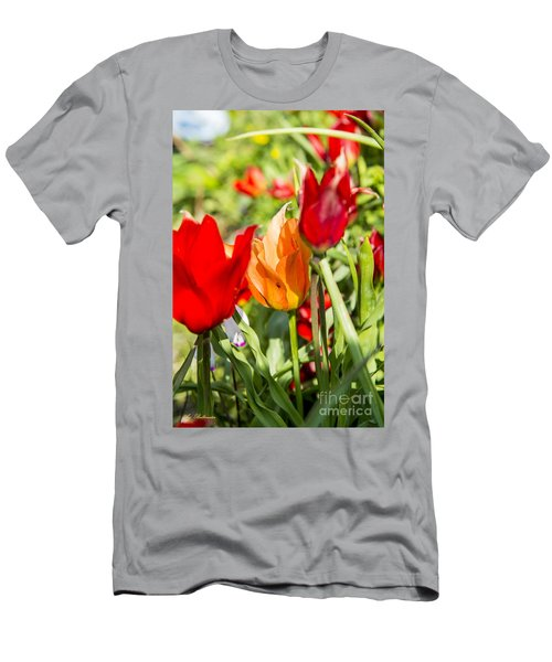 Men's T-Shirt (Slim Fit) featuring the photograph Tulip - The Orange One 02 by Arik Baltinester