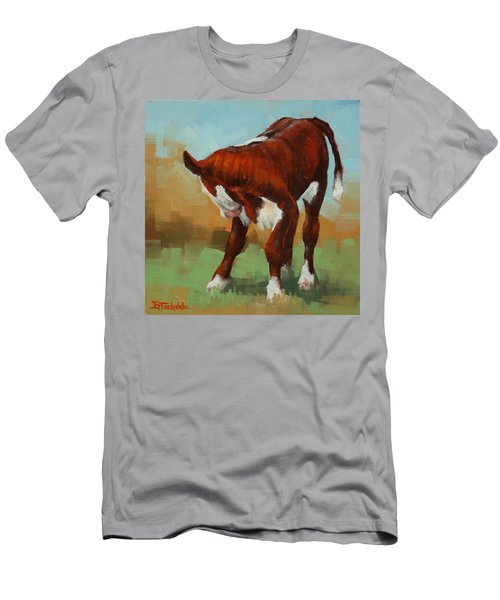 Men's T-Shirt (Slim Fit) featuring the painting Turning Calf by Margaret Stockdale