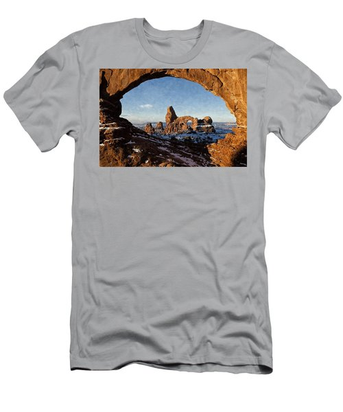 Men's T-Shirt (Slim Fit) featuring the digital art Turret Arch by Kai Saarto