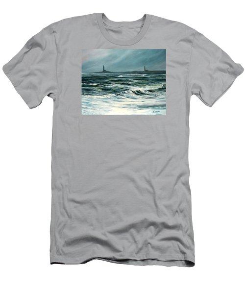 Twin Lights Rockport Ma Men's T-Shirt (Slim Fit) by Eileen Patten Oliver
