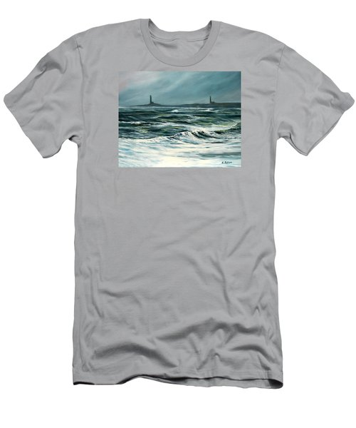 Twin Lights Rockport Ma Men's T-Shirt (Athletic Fit)
