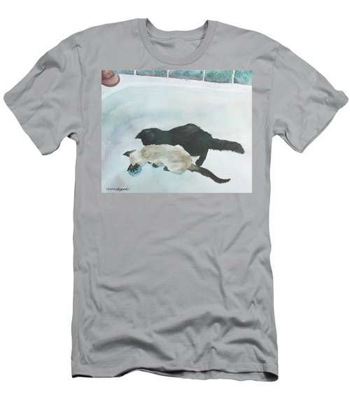 Men's T-Shirt (Slim Fit) featuring the painting Two Cats In A Tub by Anne Gifford
